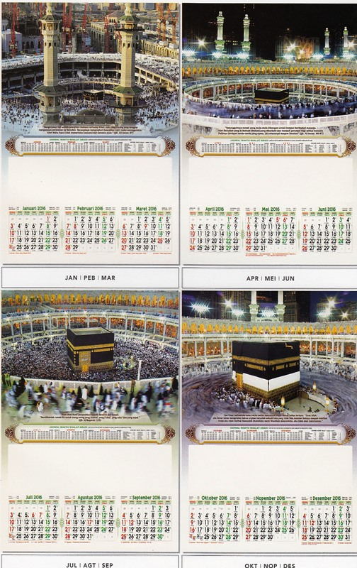 Kalender 2016 - 3 Bulanan Pro - Masjidil Haram Mekkah