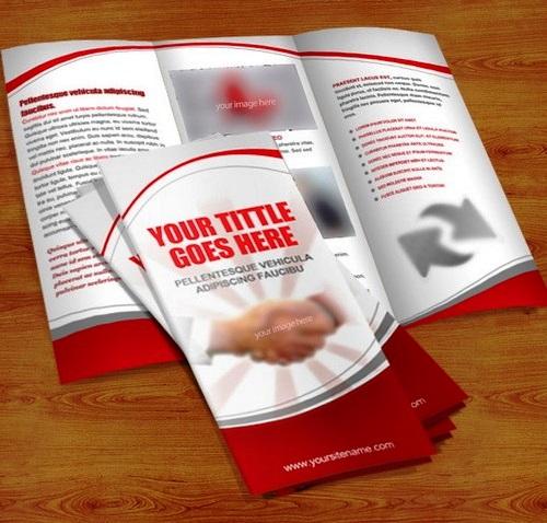 Cara Membuat Desain Brosur yang Menarik - Brosur Lipat 3 Merah