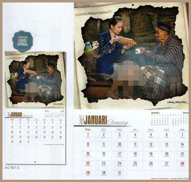 Kalender executive 2017 berilustrasi kegiatan ekonomi rakyat Indonesia