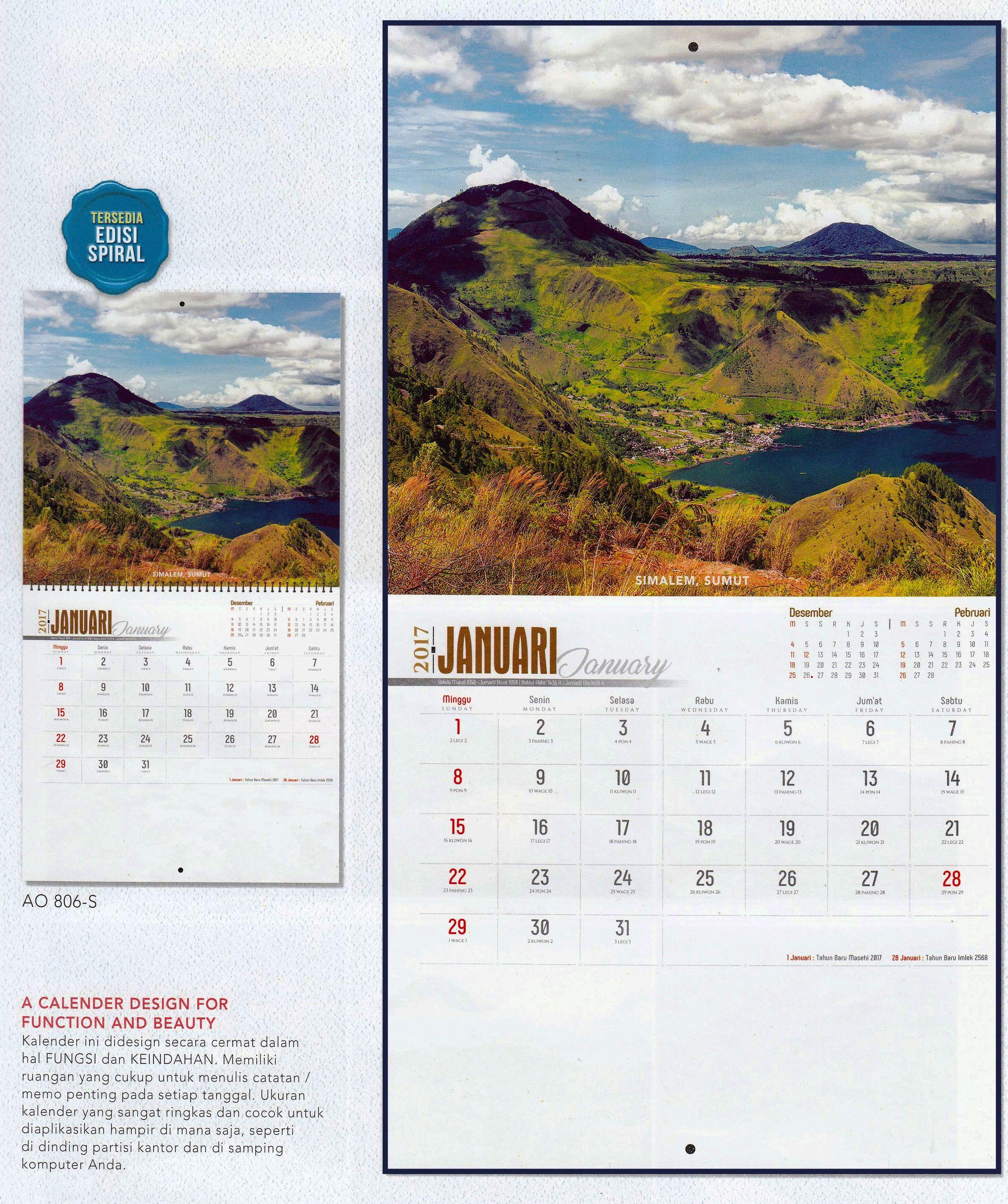 Kalender Dinding 2017 Bergambar Pemandangan Alam Indonesia