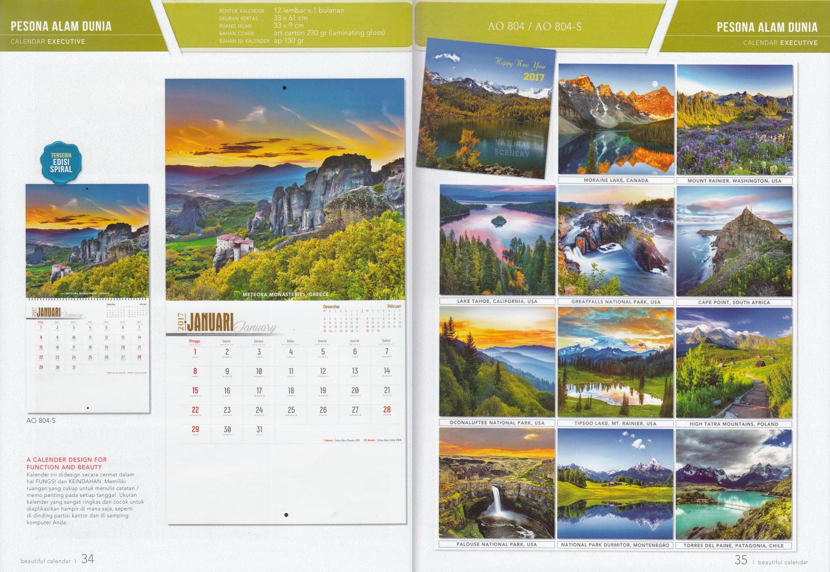 Kalender 2017 Pesona Alam Dunia Desain Executive