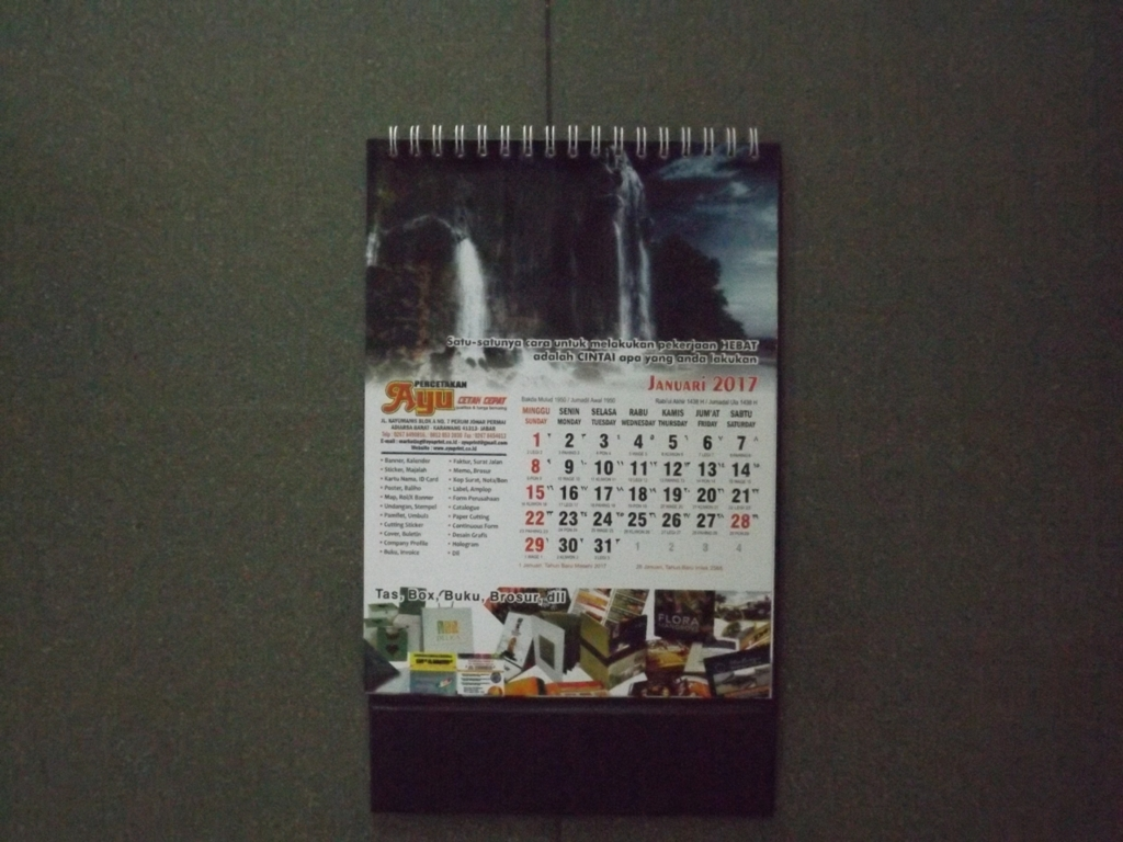 Kalender meja 2017 blangko AO custom dan Executive Diary Portfolio