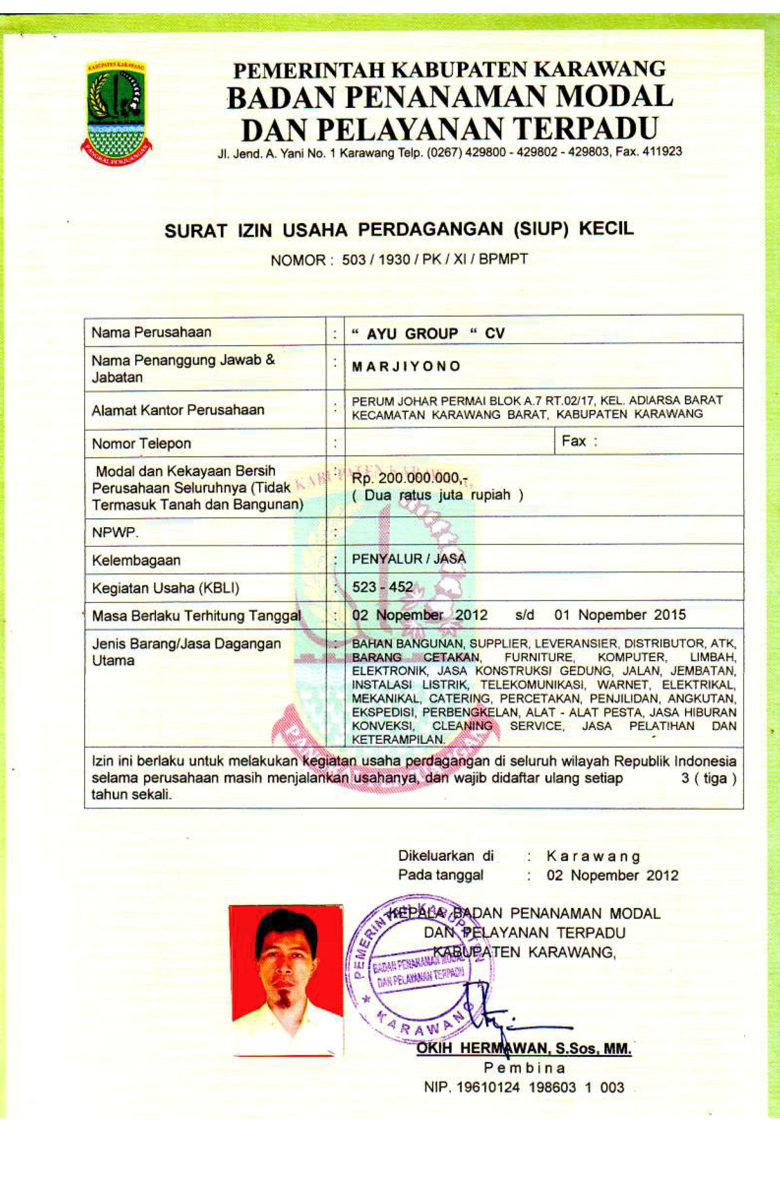 Dokumen Legalitas CV Ayu Group SIUP Kecil