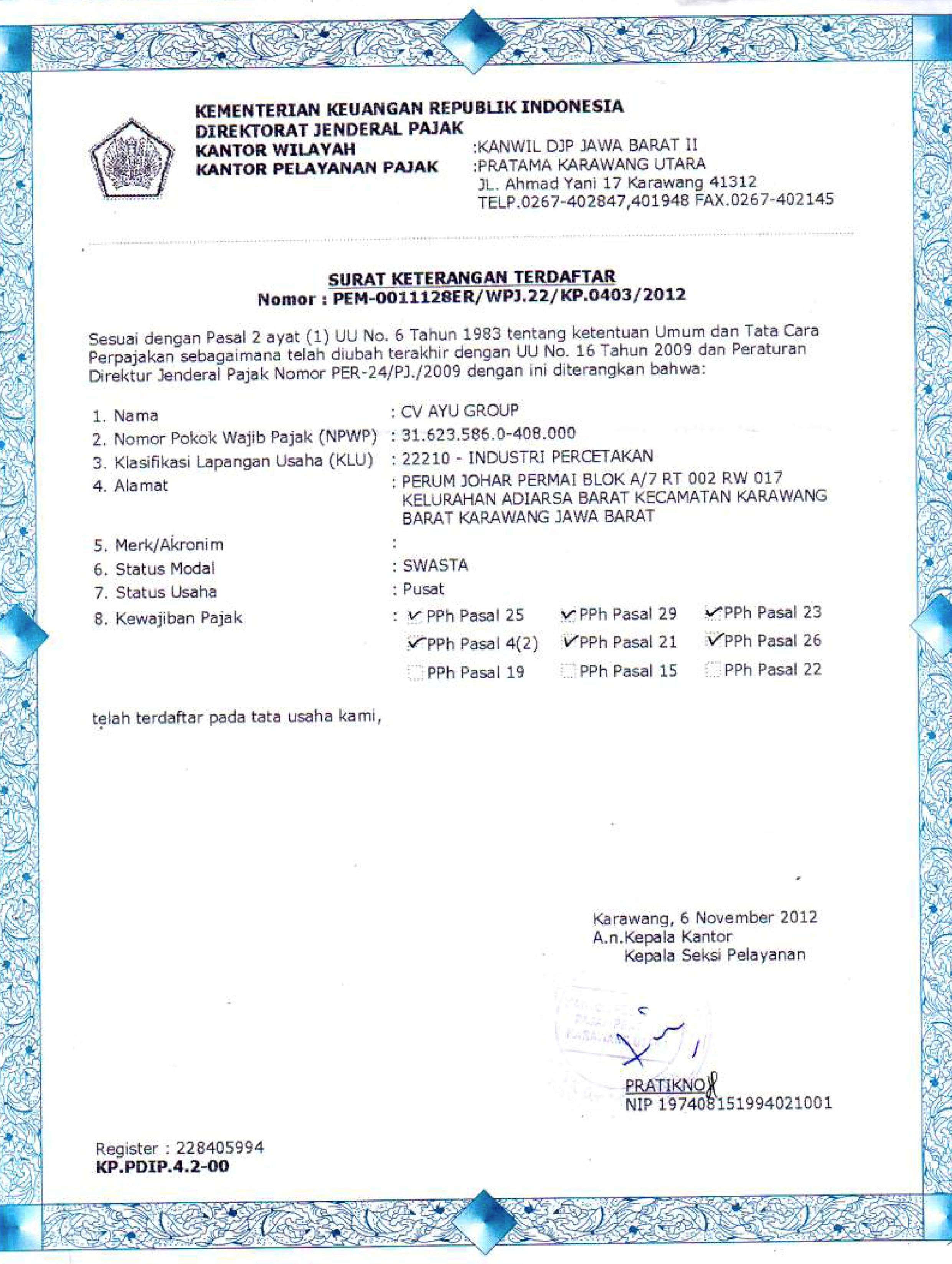 Dokumen Legalitas CV Ayu Group Terdaftar Pajak 2