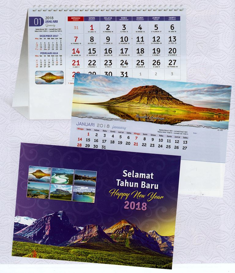 Kalender Meja 2018 Pemandangan Alam Dunia AO 1000