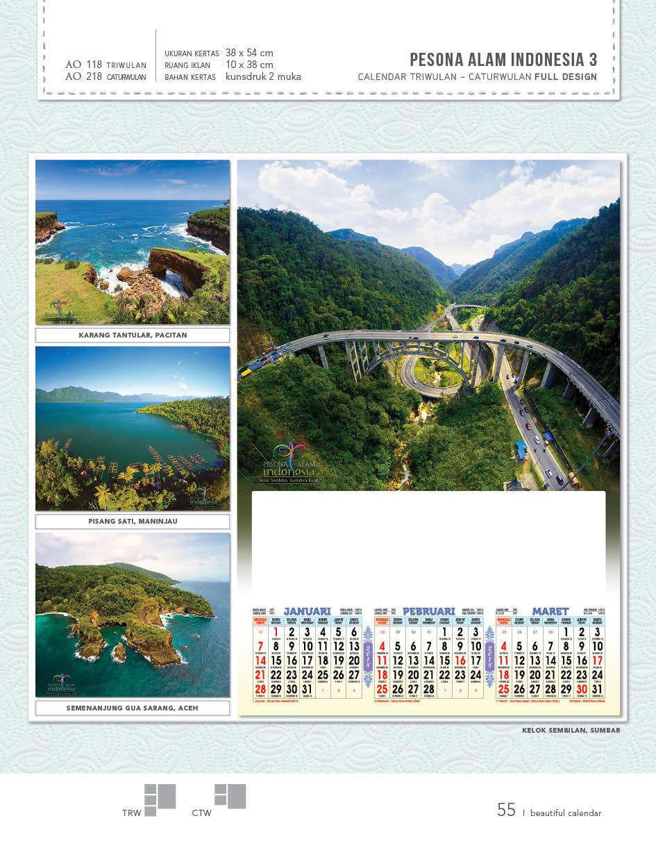 Kalender dinding 2018 tiga bulanan full design lengkap