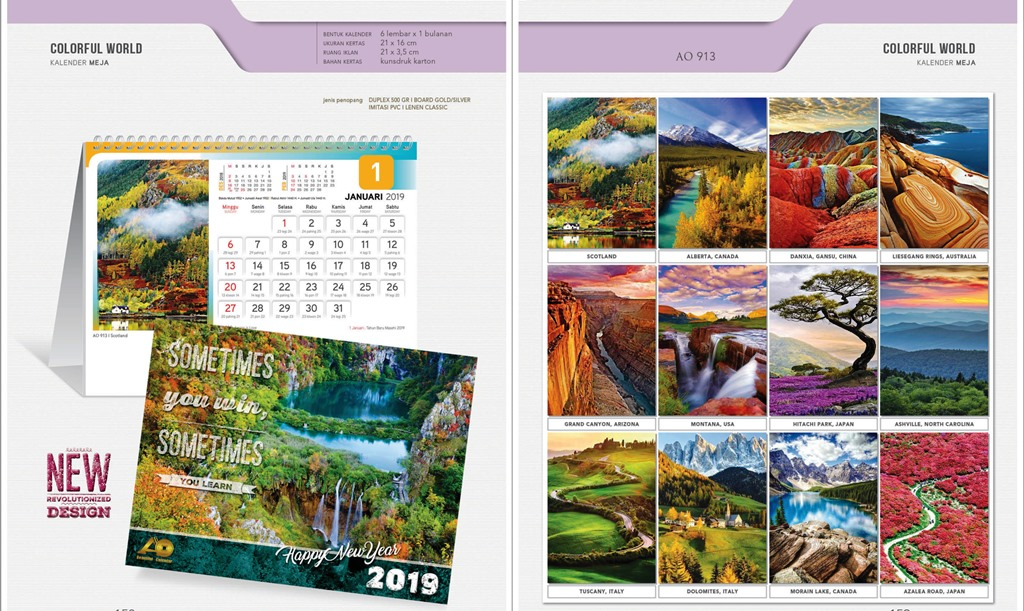 Kalender Meja 2019 Standard - Colorful World ( AO 913 ...