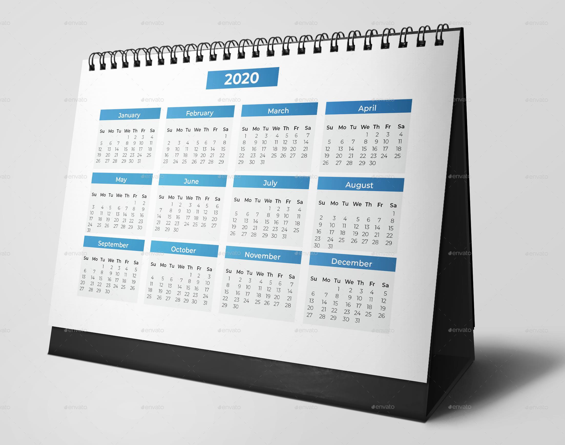 Template Kalender Meja 2020 Psd - Contoh Gambar Template