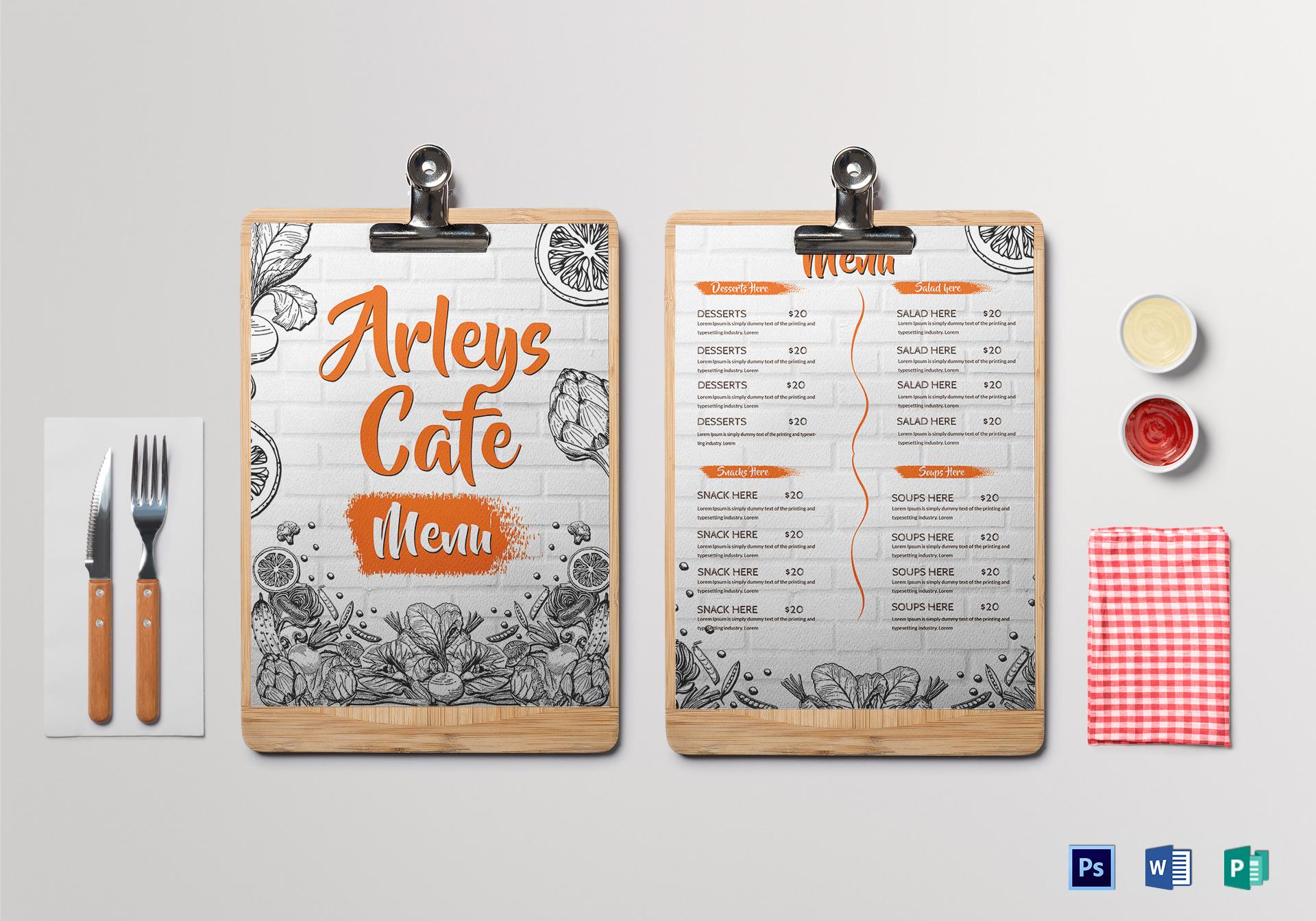 Desain Template Menu Kafe