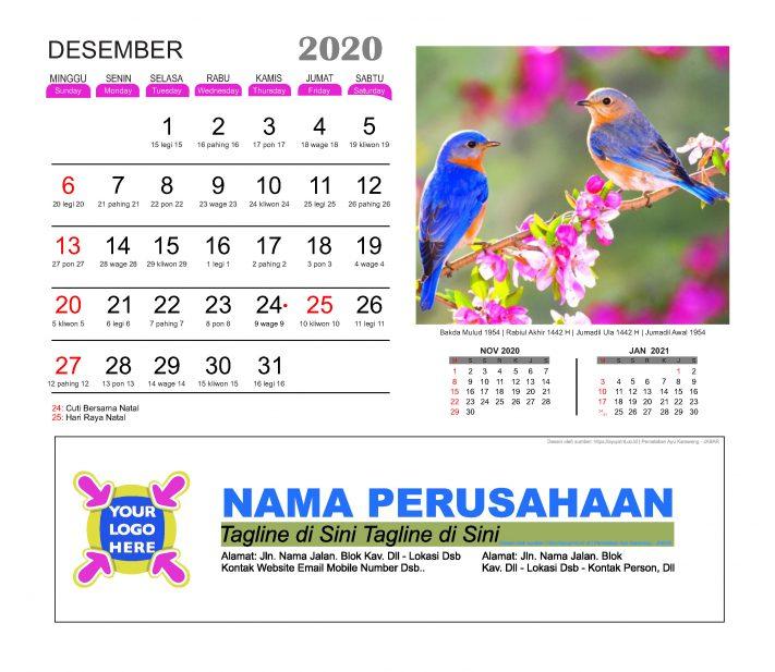 Kalender Meja 2020 Burung Cantik Download Gratis Template ...