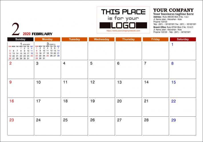 Kalender Meja 2020 Konstruksi Template