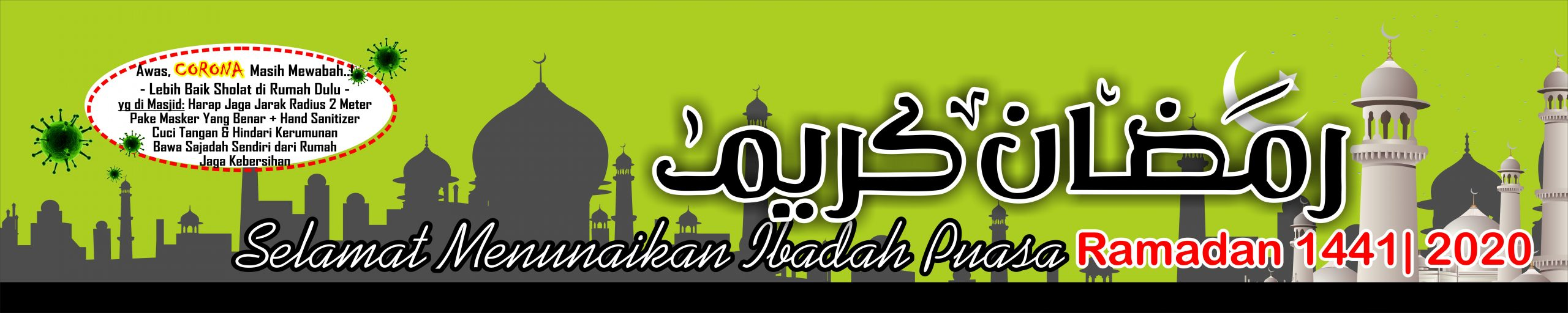 Banner Ramadhan 1441 2020 + Covid 19 Free Download Vector CDR Pdf
