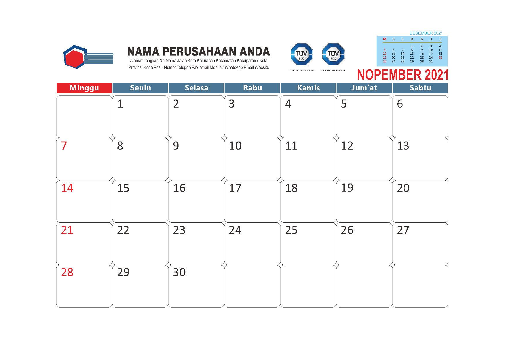 Template Kalender Meja