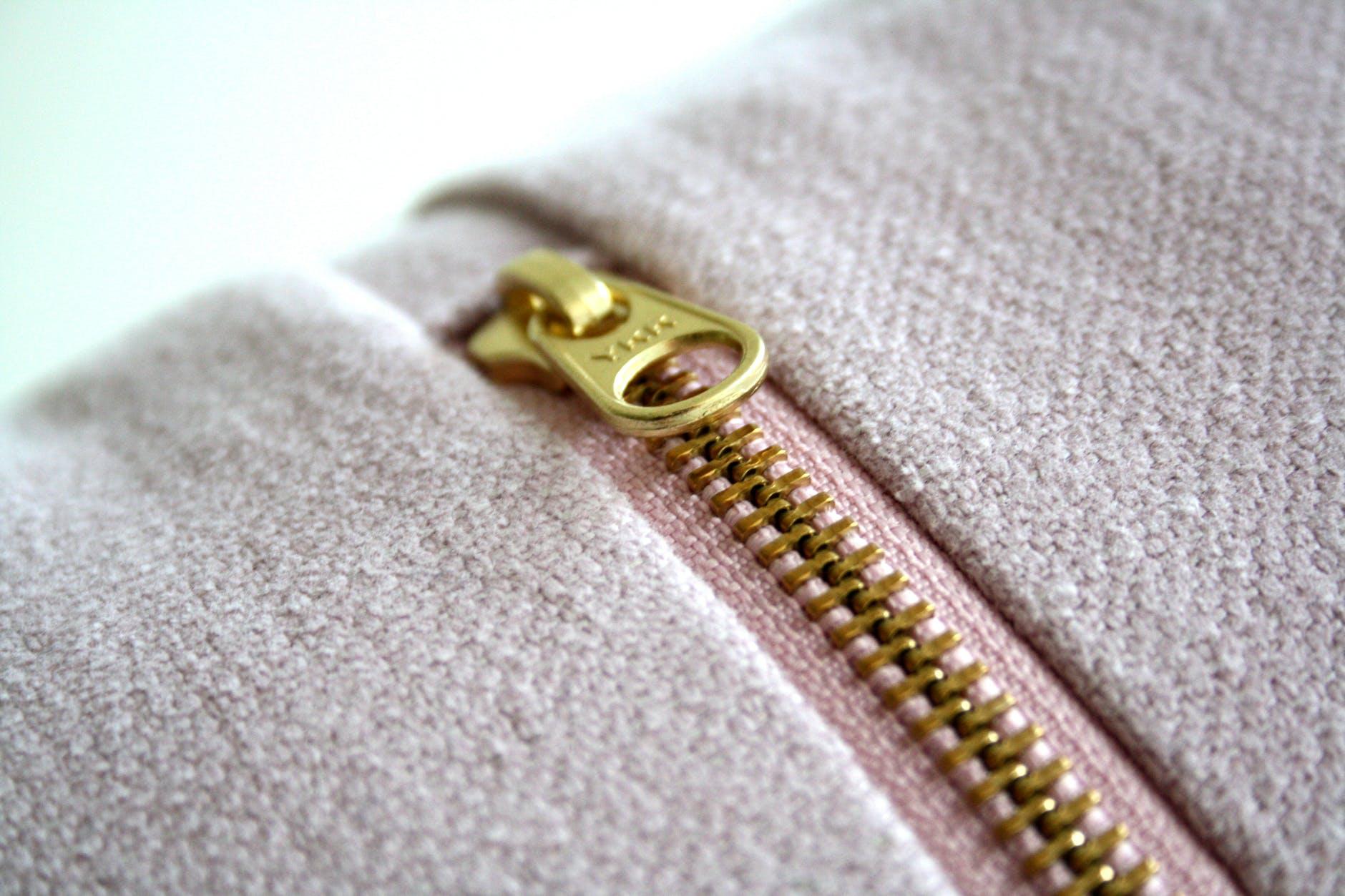 gold colored zipper