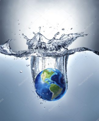 Planet Earth, splashing into water.