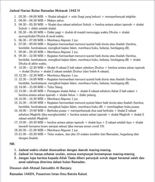 Jadwal Aktivitas Harian Ramadhan 1422