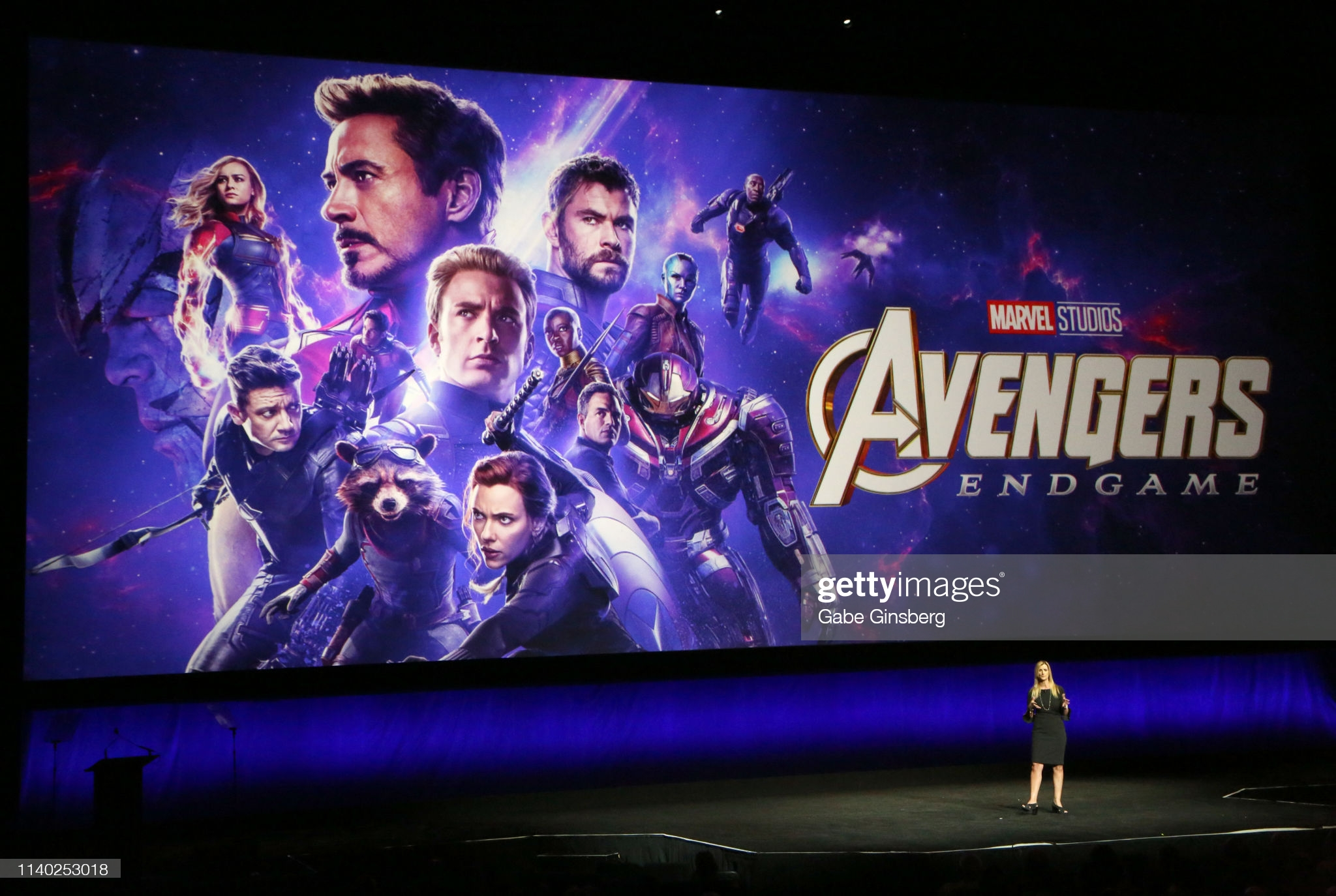 """LAS VEGAS, NEVADA - APRIL 03:  Walt Disney Studios Motion Pictures President of Walt Disney Distribution Franchise Management, Business & Audience Insights Cathleen Taff talks about the upcoming movie """"Avengers: Endgame"""" during Walt Disney Studios Motion Pictures special presentation during CinemaCon at The Colosseum at Caesars Palace on April 03, 2019 in Las Vegas, Nevada. CinemaCon is the official convention of the National Association of Theatre Owners. (Photo by Gabe Ginsberg/WireImage)"""