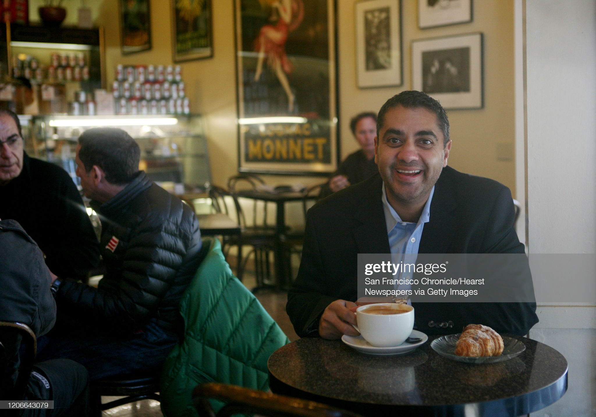 Sipping a double latte, Michael Mina, Executive Chef of Michael Mina at the Westin St. Francis, sits for a portrait at Caffe Greco on Thursday Feb. 12, 2009 in San Francisco, Calif. (Photo by Mike Kepka/San Francisco Chronicle via Getty Images)